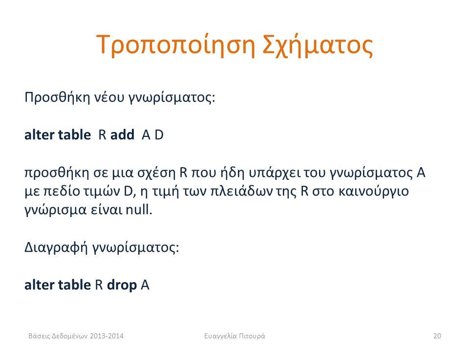 Τροποποίηση Σχήματος Προσθήκη νέου γνωρίσματος: alter table R add A D