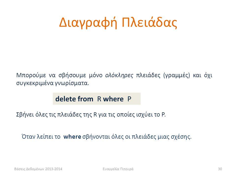 Διαγραφή Πλειάδας delete from R where P