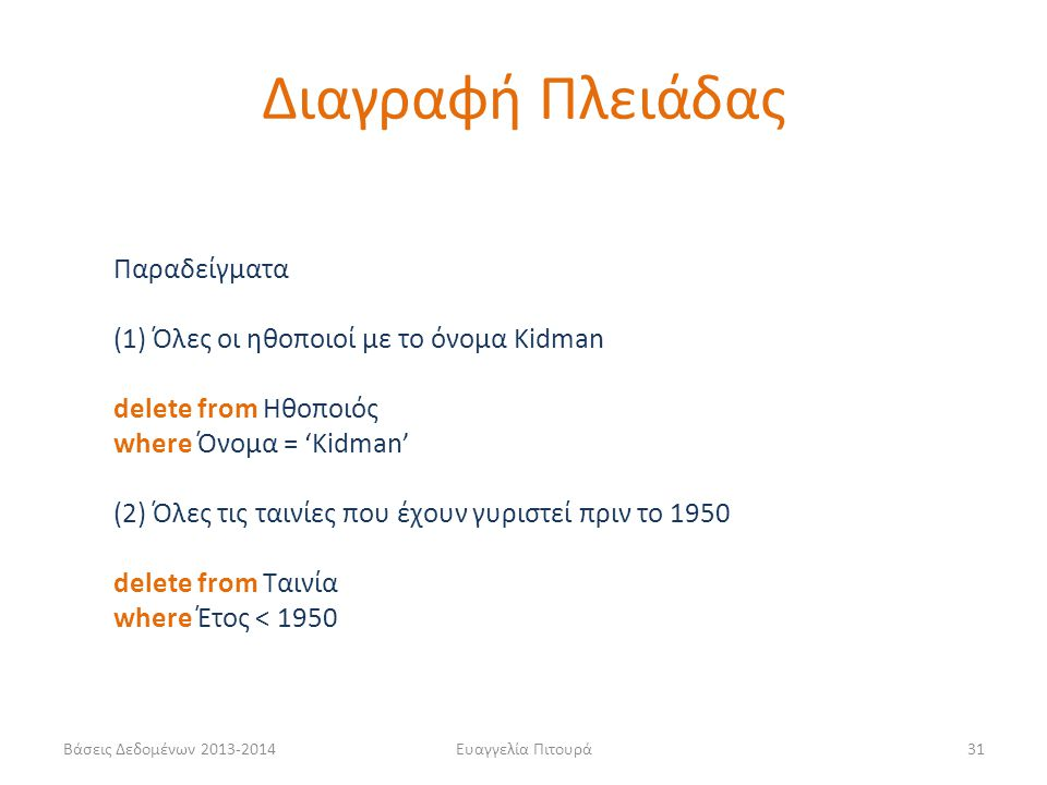 Διαγραφή Πλειάδας Παραδείγματα (1) Όλες οι ηθοποιοί με το όνομα Kidman