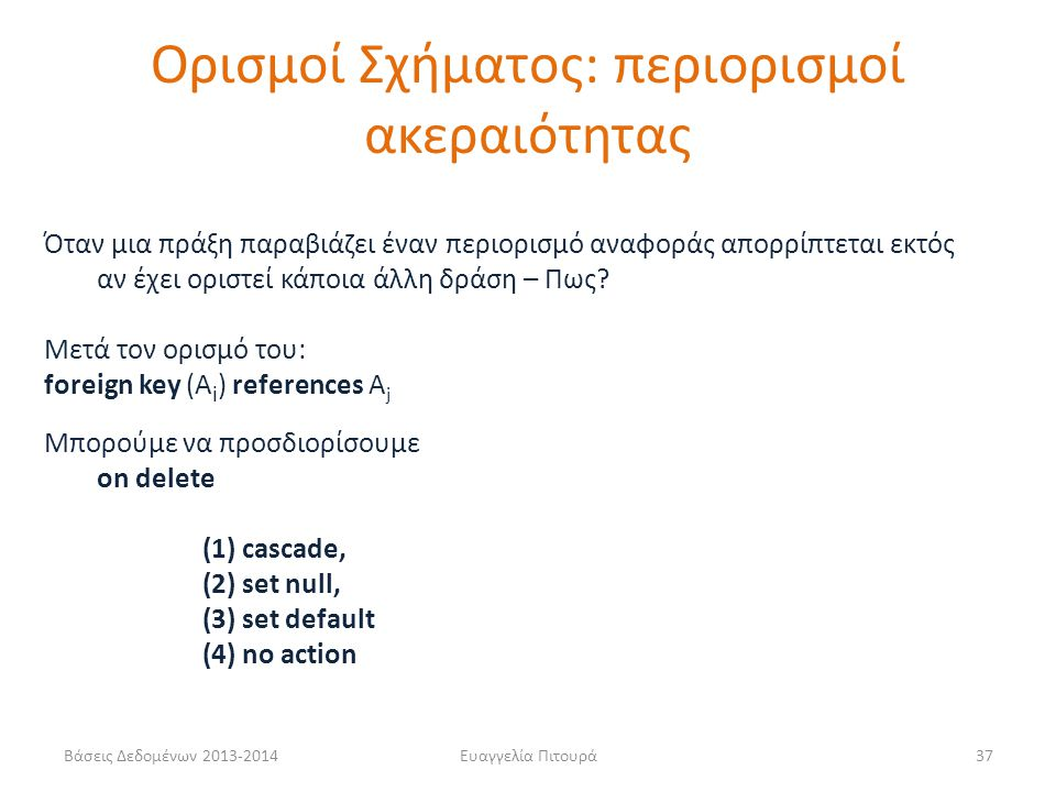 Ορισμοί Σχήματος: περιορισμοί ακεραιότητας