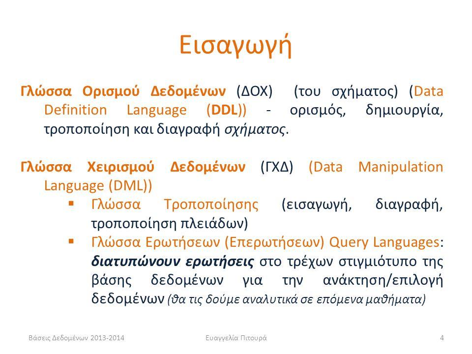 Εισαγωγή Γλώσσα Ορισμού Δεδομένων (ΔΟΧ) (του σχήματος) (Data Definition Language (DDL)) - ορισμός, δημιουργία, τροποποίηση και διαγραφή σχήματος.