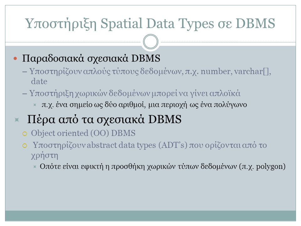 Υποστήριξη Spatial Data Types σε DBMS