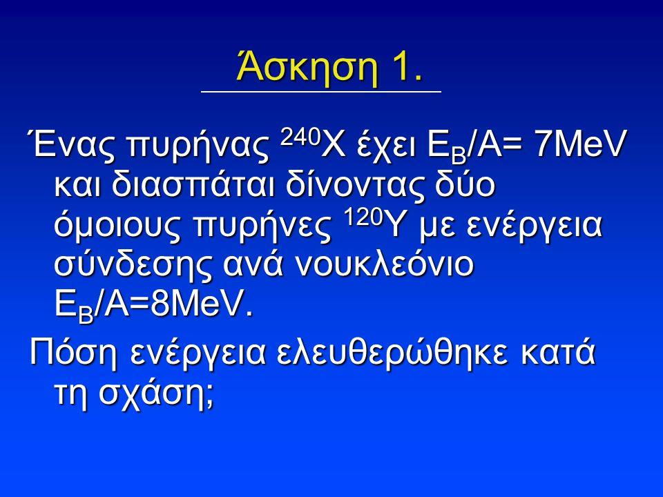 Άσκηση 1. Ένας πυρήνας 240Χ έχει ΕΒ/Α= 7ΜeV και διασπάται δίνοντας δύο όμοιους πυρήνες 120Υ με ενέργεια σύνδεσης ανά νουκλεόνιο ΕΒ/Α=8ΜeV.