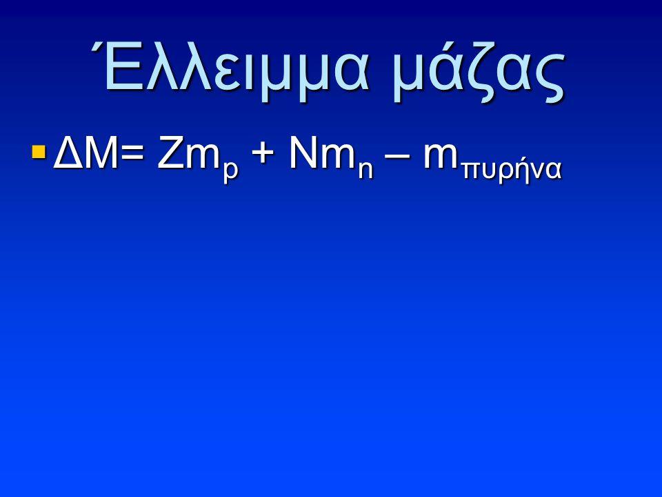 Έλλειμμα μάζας ΔΜ= Zmp + Nmn – mπυρήνα