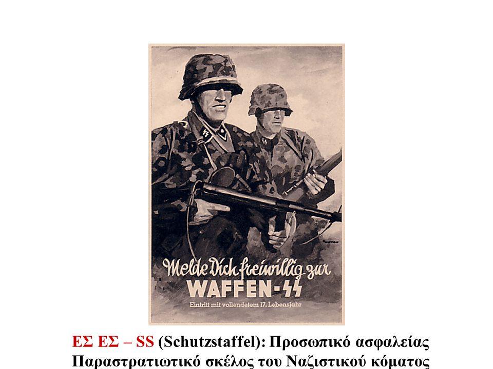 ΕΣ ΕΣ – SS (Schutzstaffel): Προσωπικό ασφαλείας Παραστρατιωτικό σκέλος του Ναζιστικού κόματος