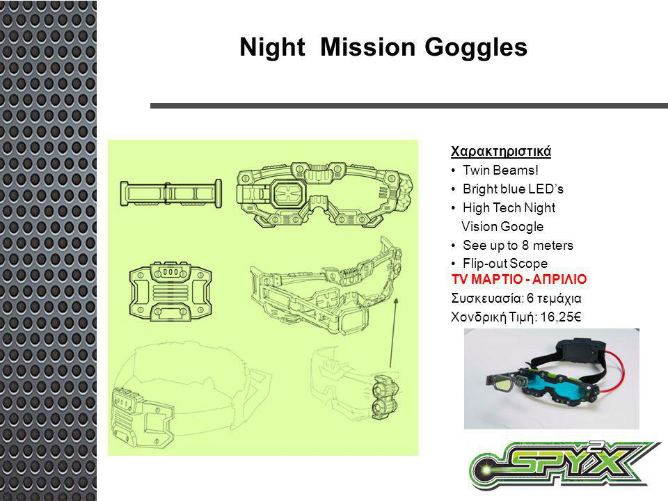 Night Mission Goggles Χαρακτηριστικά Twin Beams! Bright blue LED's