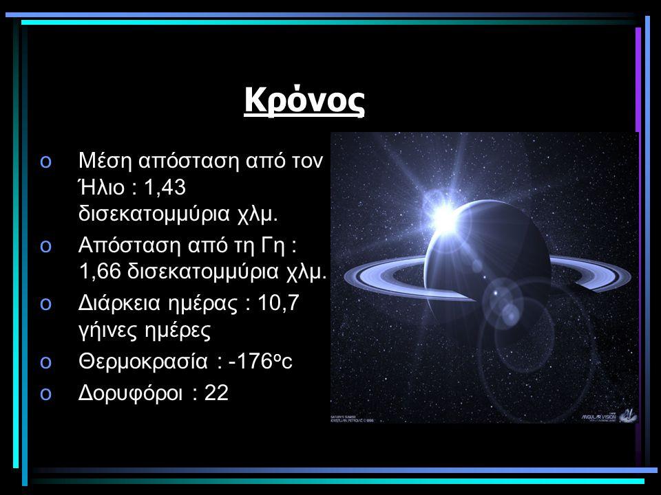 Κρόνος Μέση απόσταση από τον Ήλιο : 1,43 δισεκατομμύρια χλμ.