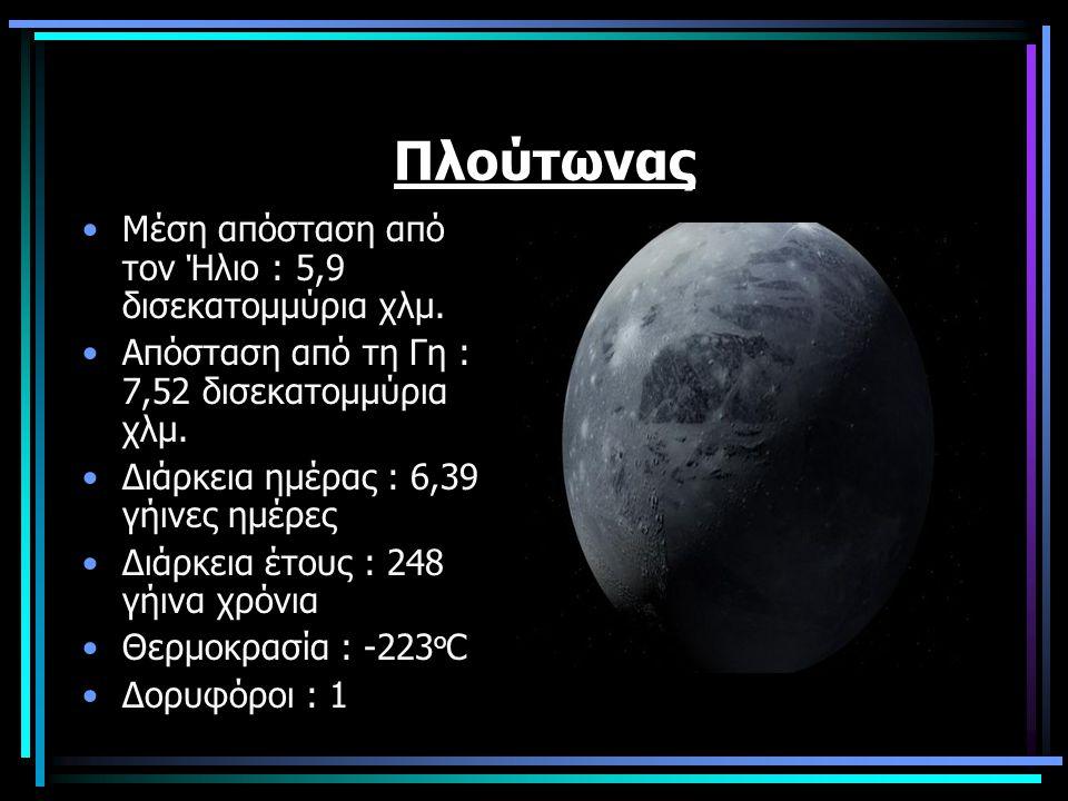Πλούτωνας Μέση απόσταση από τον Ήλιο : 5,9 δισεκατομμύρια χλμ.