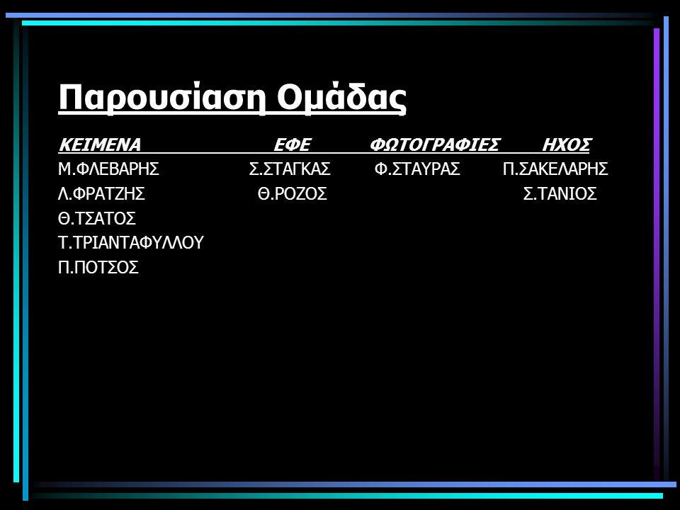 Παρουσίαση Ομάδας ΚΕΙΜΕΝΑ ΕΦΕ ΦΩΤΟΓΡΑΦΙΕΣ ΗΧΟΣ