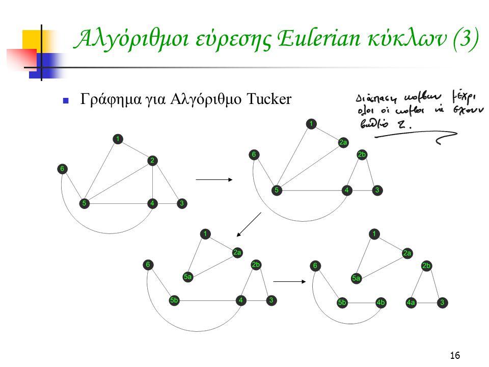 Αλγόριθμοι εύρεσης Eulerian κύκλων (3)