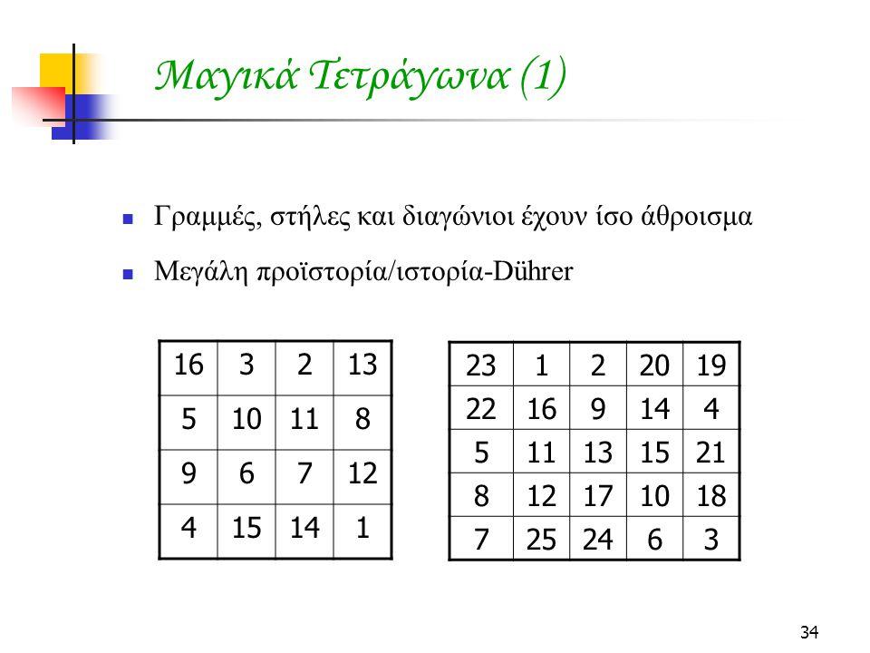 Μαγικά Τετράγωνα (1) Γραμμές, στήλες και διαγώνιοι έχουν ίσο άθροισμα