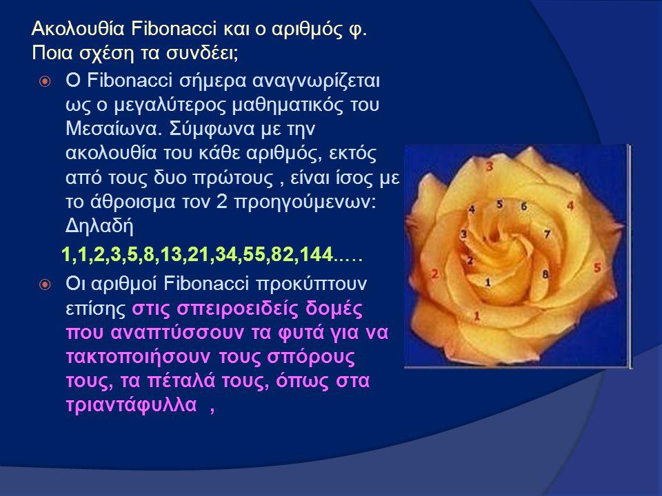 Ακολουθία Fibonacci και ο αριθμός φ. Ποια σχέση τα συνδέει;