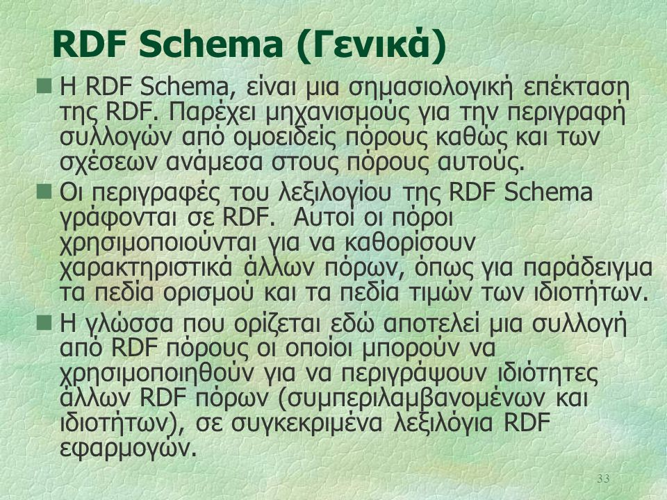 RDF Schema (Γενικά)