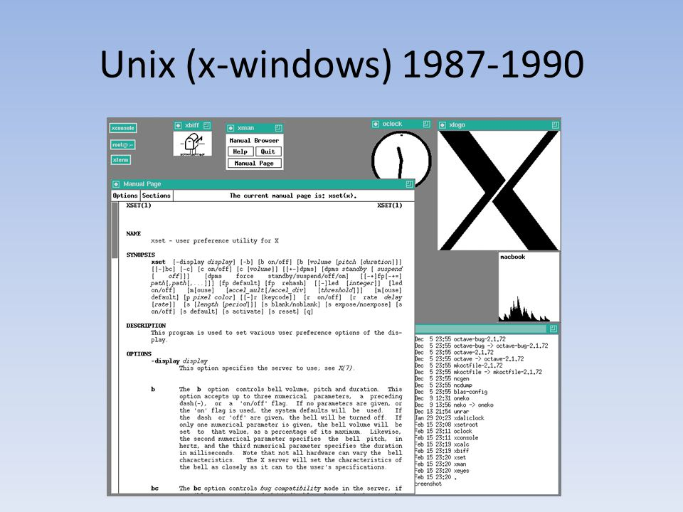 Unix (x-windows) 1987-1990