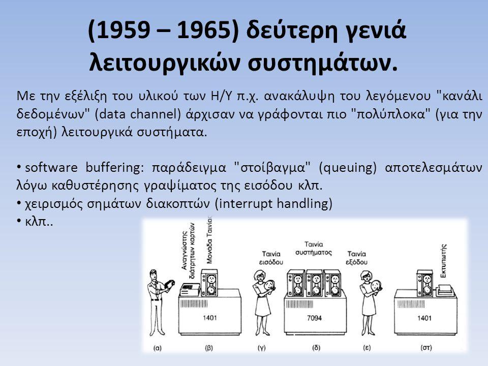 (1959 – 1965) δεύτερη γενιά λειτουργικών συστημάτων.