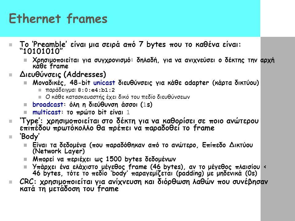 Ethernet frames To 'Preamble' είναι μια σειρά από 7 bytes που το καθένα είναι: 10101010
