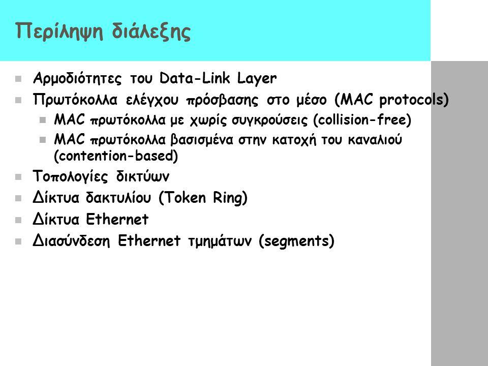 Περίληψη διάλεξης Αρμοδιότητες του Data-Link Layer