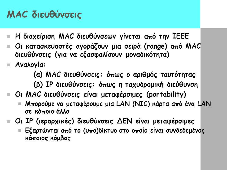 ΜΑC διευθύνσεις Η διαχείριση MAC διευθύνσεων γίνεται από την IEEE