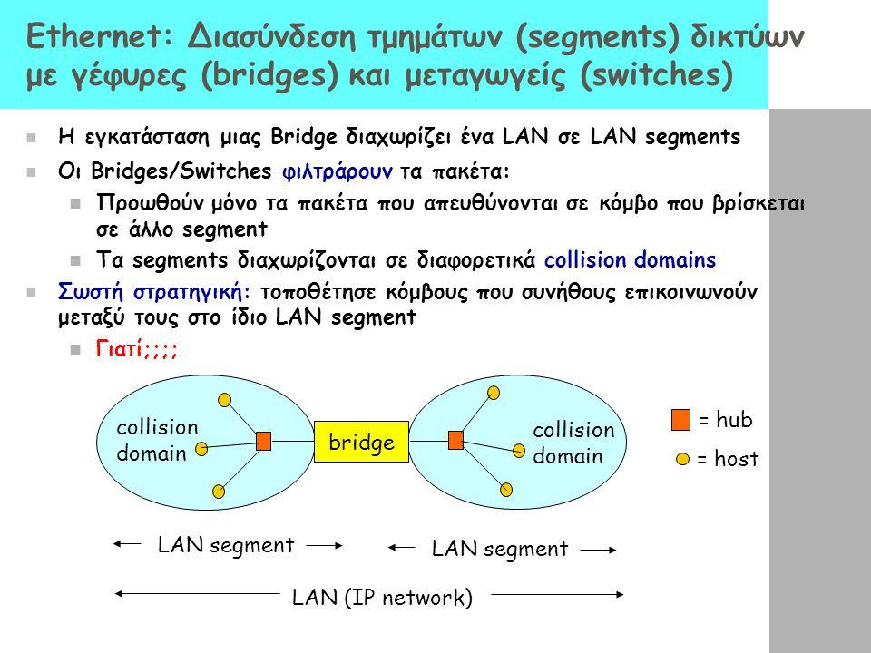 Ethernet: Διασύνδεση τμημάτων (segments) δικτύων με γέφυρες (bridges) και μεταγωγείς (switches)