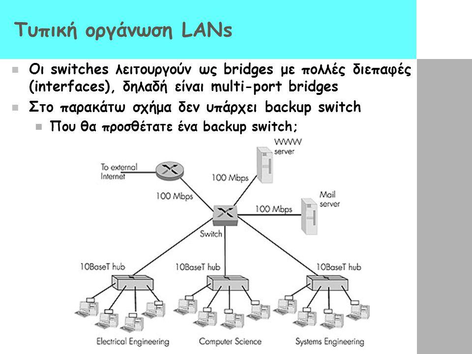 Τυπική οργάνωση LANs Oι switches λειτουργούν ως bridges με πολλές διεπαφές (interfaces), δηλαδή είναι multi-port bridges.