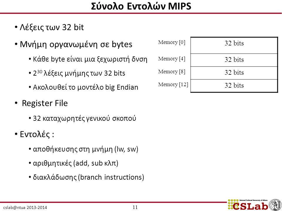Σύνολο Εντολών MIPS Λέξεις των 32 bit Μνήμη οργανωμένη σε bytes