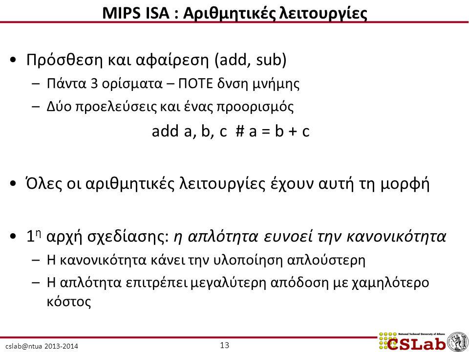 MIPS ISA : Αριθμητικές λειτουργίες
