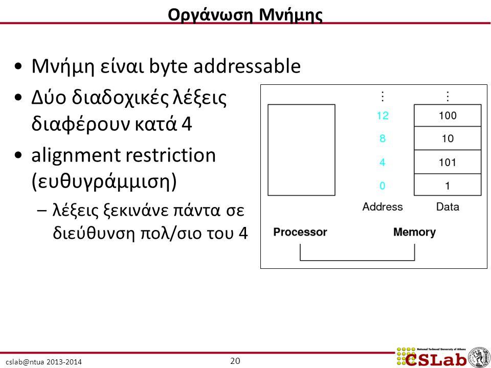 Μνήμη είναι byte addressable Δύο διαδοχικές λέξεις διαφέρουν κατά 4