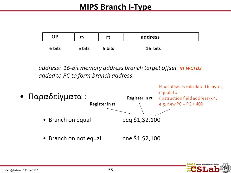 MIPS Branch I-Type Παραδείγματα :