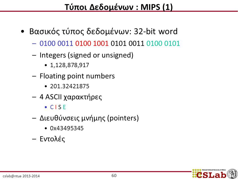 Τύποι Δεδομένων : MIPS (1)