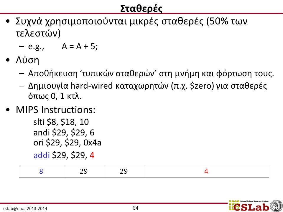 Συχνά χρησιμοποιούνται μικρές σταθερές (50% των τελεστών)
