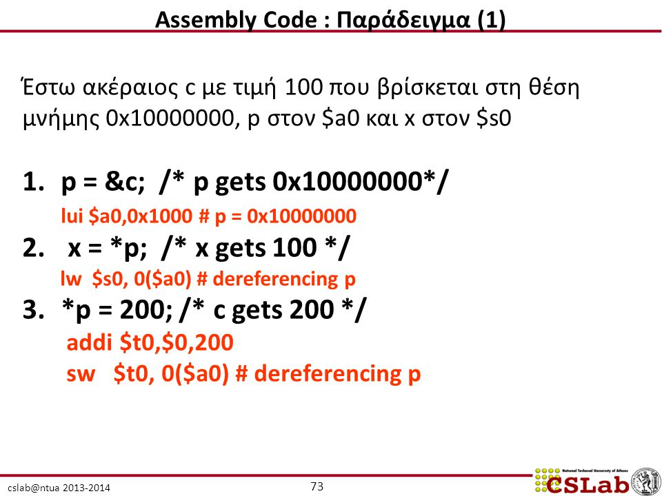 Assembly Code : Παράδειγμα (1)