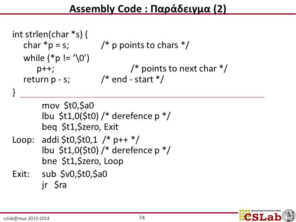 Assembly Code : Παράδειγμα (2)