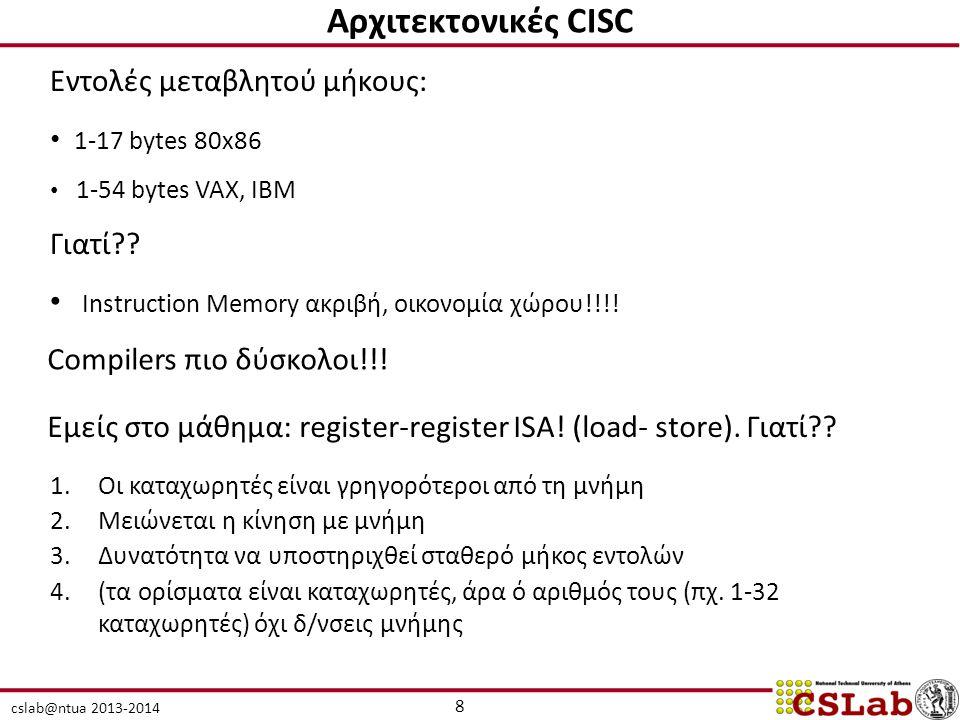 Αρχιτεκτονικές CISC Εντολές μεταβλητού μήκους: 1-17 bytes 80x86