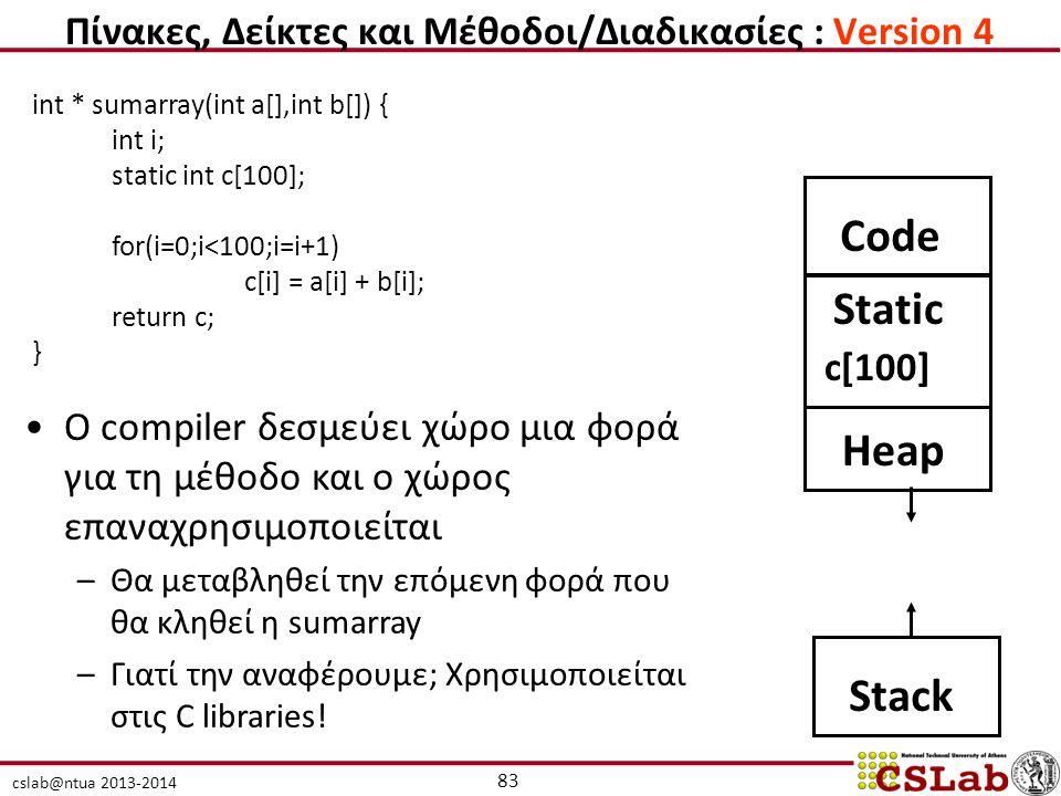 Πίνακες, Δείκτες και Μέθοδοι/Διαδικασίες : Version 4