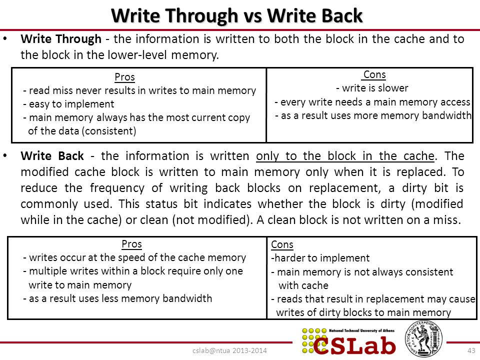 Write Through vs Write Back