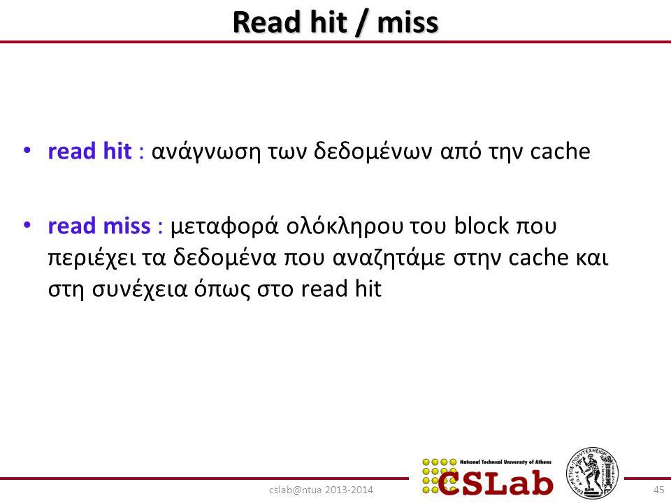 Read hit / miss read hit : ανάγνωση των δεδομένων από την cache