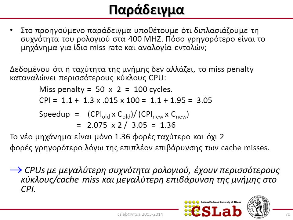 Παράδειγμα Miss penalty = 50 x 2 = 100 cycles.