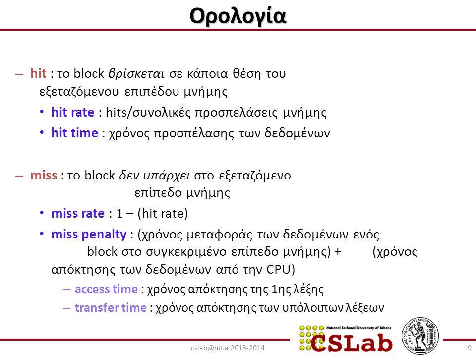 Ορολογία hit : το block βρίσκεται σε κάποια θέση του εξεταζόμενου επιπέδου μνήμης. hit rate : hits/συνολικές προσπελάσεις μνήμης.