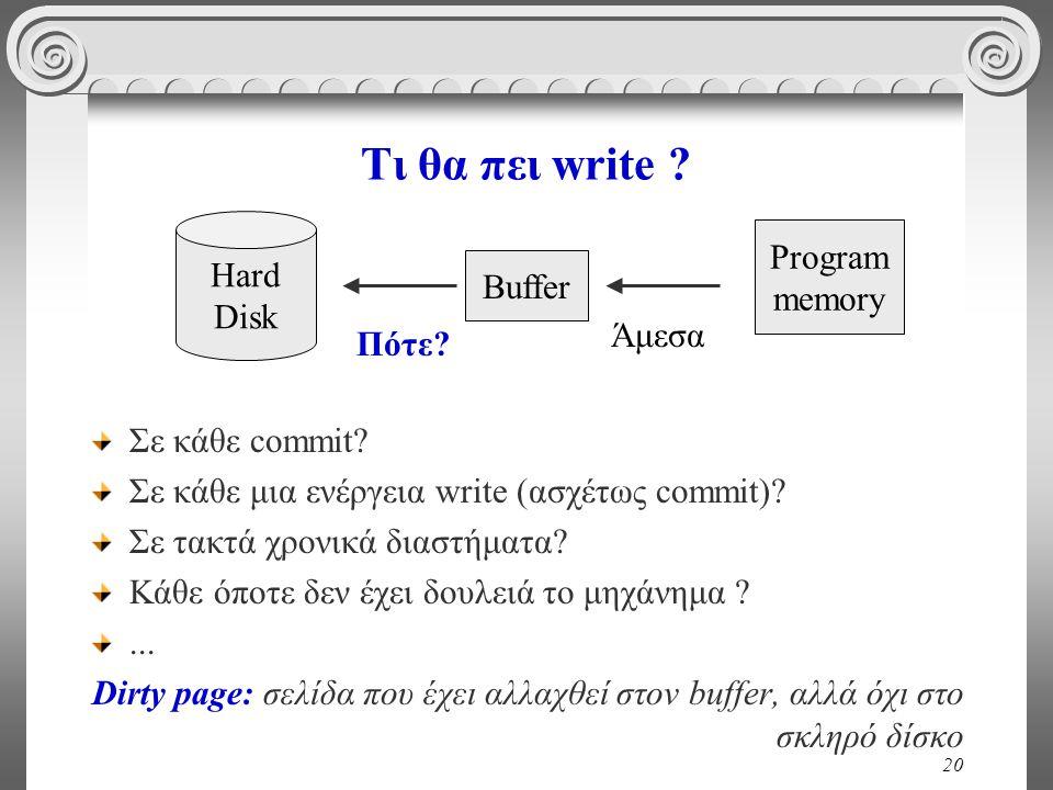 Τι θα πει write Program Hard memory Disk Buffer Άμεσα Πότε