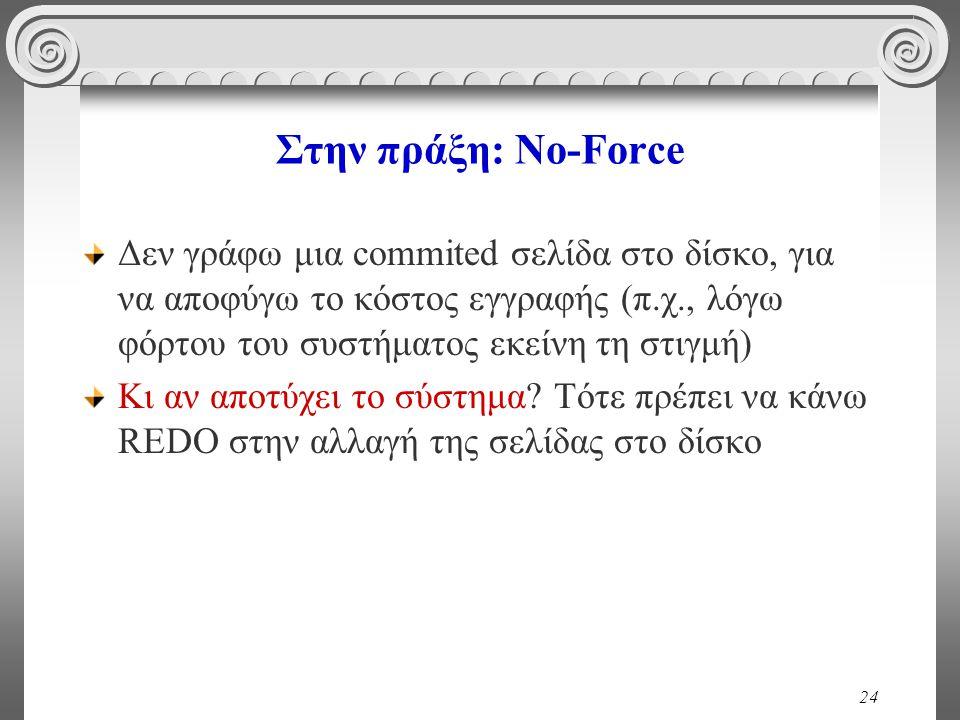 Στην πράξη: No-Force Δεν γράφω μια commited σελίδα στο δίσκο, για να αποφύγω το κόστος εγγραφής (π.χ., λόγω φόρτου του συστήματος εκείνη τη στιγμή)