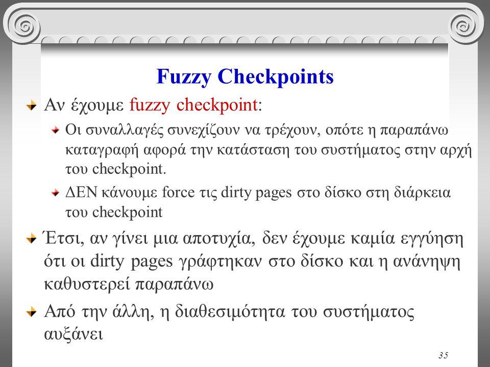 Fuzzy Checkpoints Αν έχουμε fuzzy checkpoint: