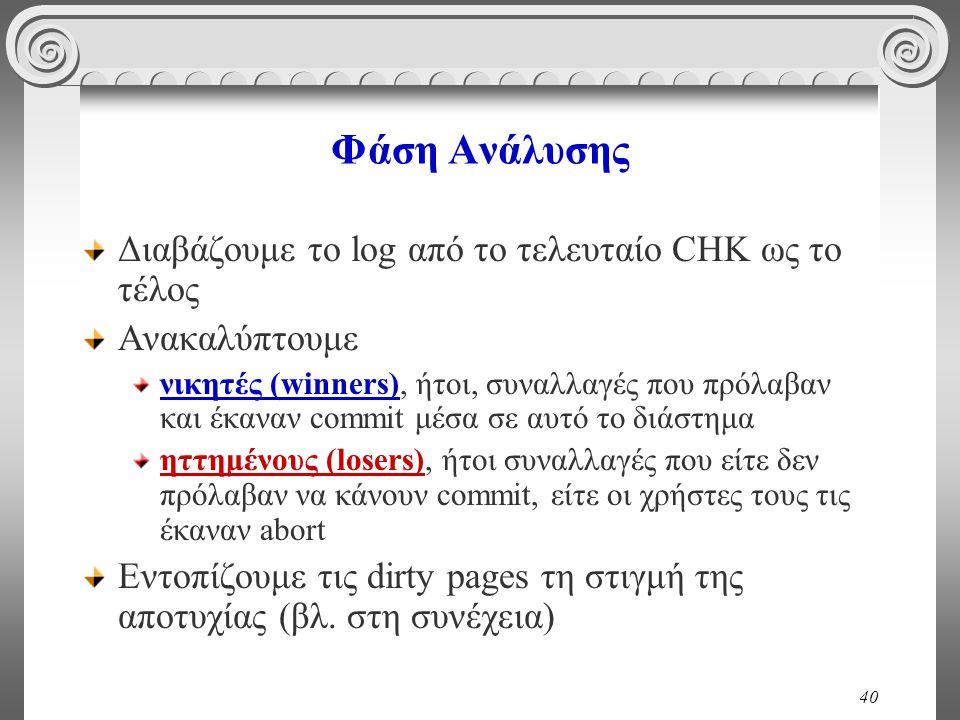 Φάση Ανάλυσης Διαβάζουμε το log από το τελευταίο CHK ως το τέλος