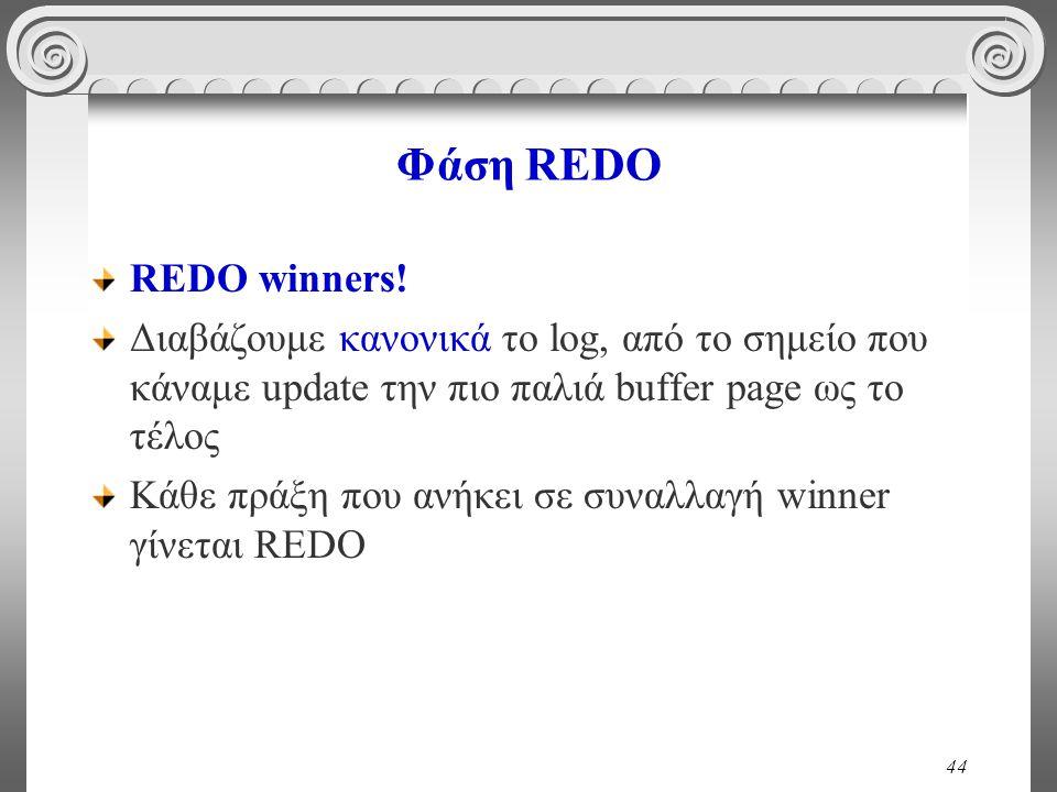 Φάση REDO REDO winners! Διαβάζουμε κανονικά το log, από το σημείο που κάναμε update την πιο παλιά buffer page ως το τέλος.