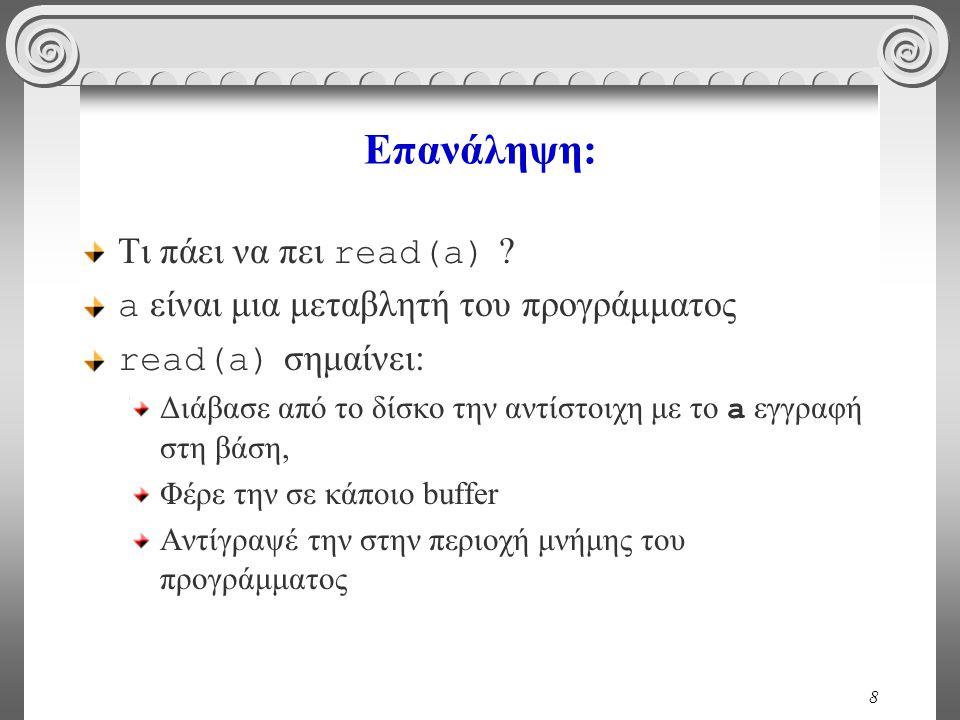Επανάληψη: Τι πάει να πει read(a)