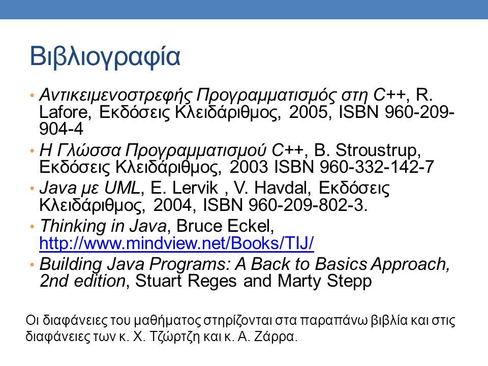 Βιβλιογραφία Αντικειμενοστρεφής Προγραμματισμός στη C++, R. Lafore, Εκδόσεις Κλειδάριθμος, 2005, ISBN 960-209-904-4.