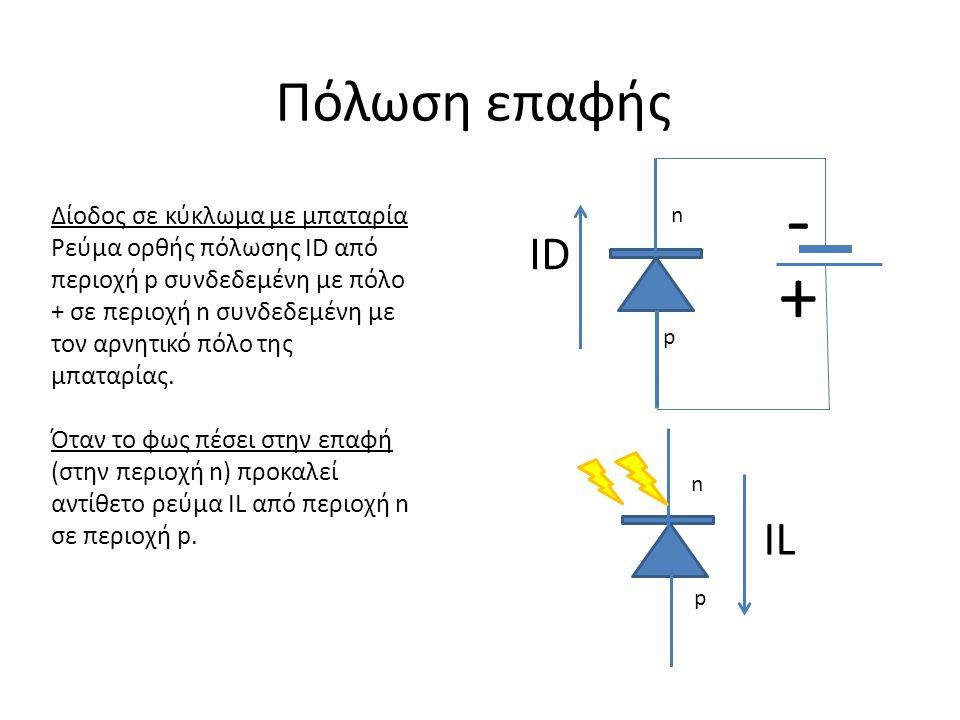 - + Πόλωση επαφής ID IL Δίοδος σε κύκλωμα με μπαταρία