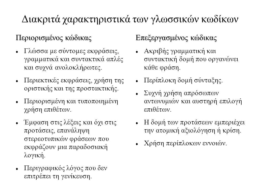 Διακριτά χαρακτηριστικά των γλωσσικών κωδίκων