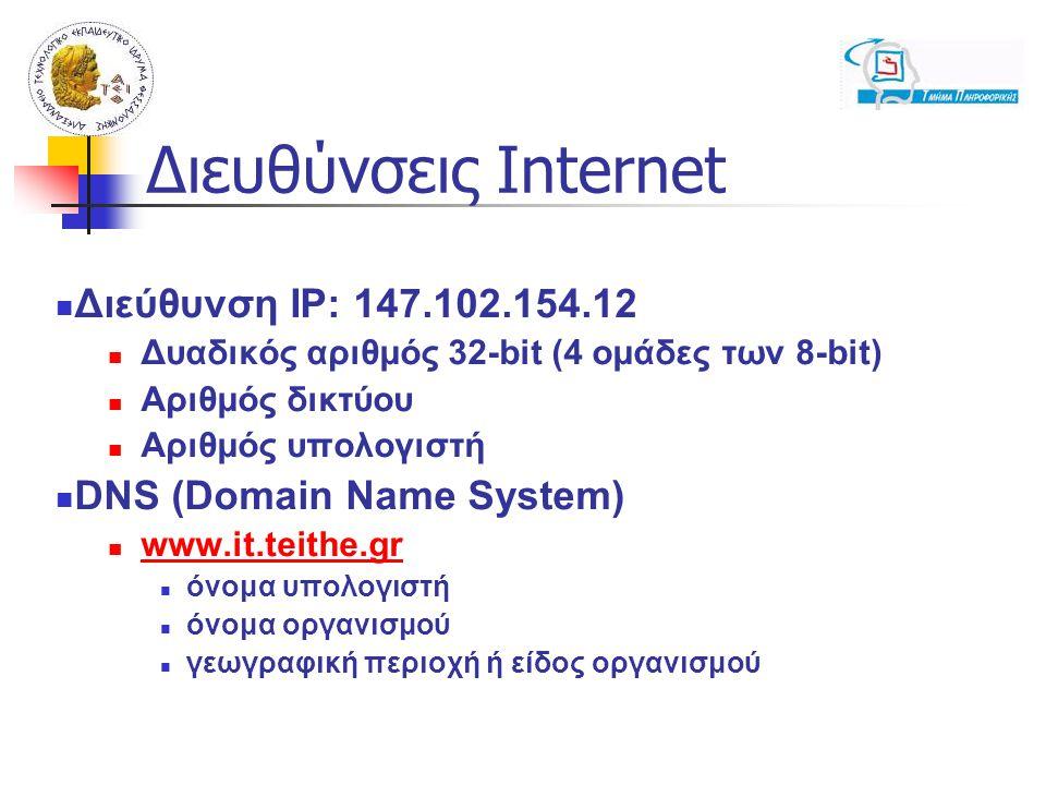 Διευθύνσεις Internet Διεύθυνση IP: 147.102.154.12