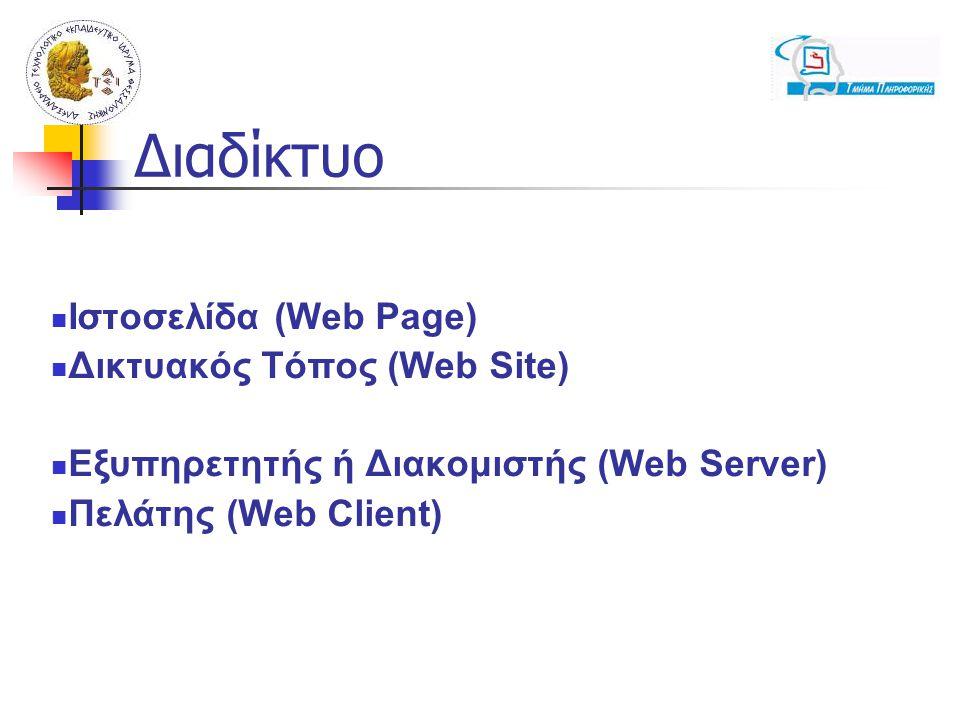 Διαδίκτυο Ιστοσελίδα (Web Page) Δικτυακός Τόπος (Web Site)