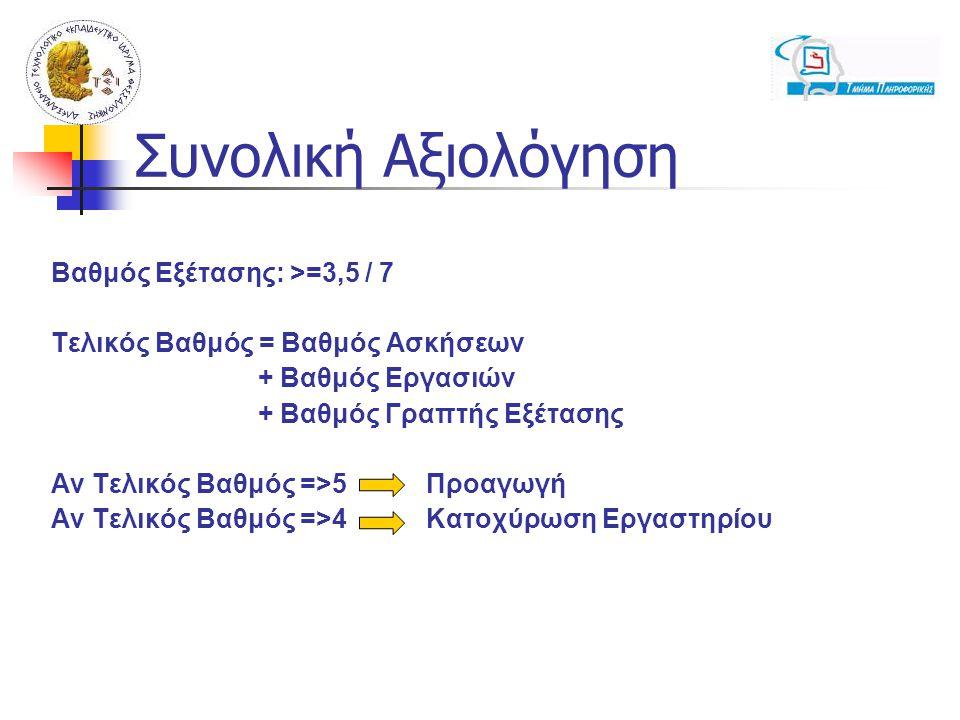 Συνολική Αξιολόγηση Βαθμός Εξέτασης: >=3,5 / 7